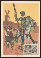 CARTE MAXIMUM CM Card USSR RUSSIA Literature Spain Writer Cervantes Don Quichotte Horse  Windmill Painting - Maximumkaarten