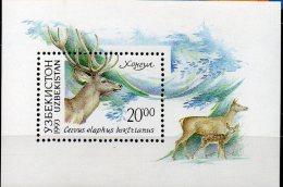 Naturschutz Wald-Tiere Hirsch 1993 Usbekistan Block 1 ** 2€ Bucharahirsch WWF Bf Wildlife Bloc Fauna Sheet Of Uzbekistan - Uzbekistan