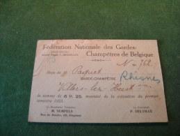 BC5-2-0 Carte Fédération Nationale Garde Champetre De Belgique 1923 De Rhisnes Villers Lez Heest - Cartes De Visite