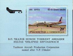 Flugzeuge Tschakalow 1995 Usbekistan Block 8 ** 4€ Flugzeugwerk Bf M/s Technic Bloc Aircraft IL-114 Sheet Of Uzbekistan - Uzbekistan