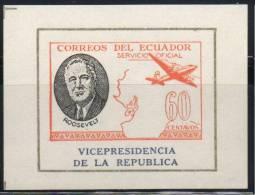 Ecuador - Equateur 1949, MNH S/S Imperf/non-dentele (Roosevelt, VICEPRESIDENCIA - SERVICIO OFICIAL  60 CT) - Ecuador