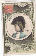 Cécile Sorel, Artiste 1900 , Photo Au Chapeau Dans Médaillon ,  Photo Reutlinger - Théâtre