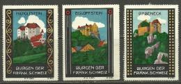 GERMANY Vignetten Poster Stamps Cinderellas Views Castles Burgen D. Fränk. Schweiz - Cinderellas