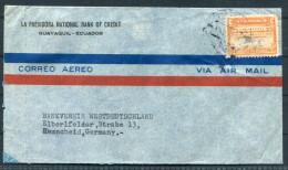 1951 Ecuador La Previsora Banco Nacional De Credito Bank Cover To Remscheid Germany - Ecuador