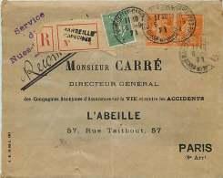 1921  Lettre Recommandée De Marseille Pour Paris  Semeuse Lignée 15 C Yv 130, Camée 30 C Yv 141 X2 - Storia Postale