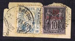 Poste Locale   Mazazgan à Marrakech   Ligne D 10 C. Avec Poste Française Yv 3 Sur Fragment - Marokko (1891-1956)