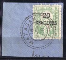 Poste Locale   Mazazgan à Marrakech   Ligne D  20 Centimos Sur 5 Cent. Maury D7 Sur Fragment - Marokko (1891-1956)