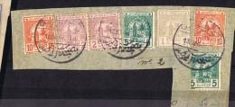 Poste Chériffienne  Grand Fragment De Lettre Avec 7 Timbres: 1 M. 2m X2, 5 M X2. 10 M X2 - Marokko (1891-1956)