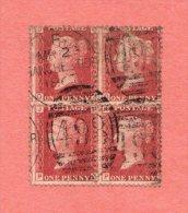 GB SC #33 U B4  P95  (O,J) (O,K) (P,J) (P,K)  W/UR STAMP HAS CRS @ UR CNR, CV $12.00 (AS 4 X SNGL) - 1840-1901 (Victoria)