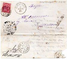 1881 LETTERA CON ANNULLO IN CORSIVO MONTELIBRETTI + ORVINIO RIETI - 1878-00 Umberto I