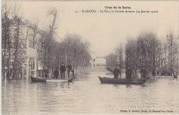 Cpa Saint-Cloud. Crue De La Seine. Le Parc, La Grande Avenue ( 29 Janvier 1910 ) - Saint Cloud