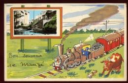 Cpa  Du  79  Bon Souvenir De Mauzé ..  Train   ARF3 - Mauze Sur Le Mignon