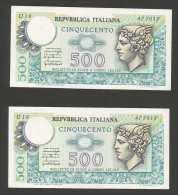REPUBBLICA ITALIANA - 500 Lire - MERCURIO -  5 Banconote Serie Consecutiva - (Decr. 20/12 - 05/06 Del 1976) - [ 2] 1946-… : Repubblica