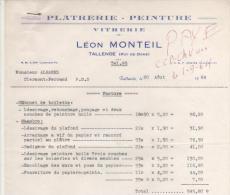 FACTURE LEON MONTEIL PLATRIER PEINTRE à TALLENDE (PUY DE DOME) 1964 - France