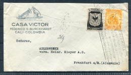 1935 Colombia Cali HMV His Masters Voice Music Vignette Coffee Slogan Dog Gramaphone Airmail Brief - Frankfurt - Colombia