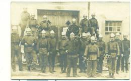 SUPERBE CARTE PHOTO GROUPE DE SAPEURS POMPIERS EN TENUES Avec Clairon, Trompettes! - Sapeurs-Pompiers