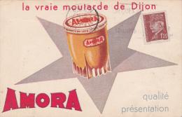 Carte Postale Avec La Publicité AMORA (Moutarde De Dijon) - Affranchissement Avec Timbre Pétain 1944 - Advertising