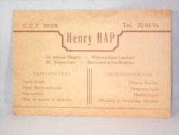 Carte De Visite. Henry Hap. Woluwé St.Lambert. Marchand De Pneus. Avenue Slegers. - Cartes De Visite