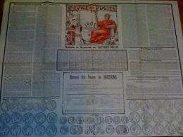 CALENDRIER DE LA POSTE  - CALENDRIER FACTEUR BELGE - 1901 COULEUR SUPERBE - HOUDENG- A VOIR - BEAU DOC - Documents Of Postal Services