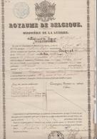 CERTIFICAT - MINISTERE DE LA GUERRE - BELGIQUE - 1859 - GAND - HASSELT + VIGNETTE A VOIR - Diplômes & Bulletins Scolaires