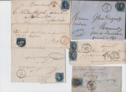 LOT DE 12 LETTRES AVEC 20C - CACHETS DIVERS - GRIFFES - 1854-1861-1863-1858...A VOIR !!! - 1858-1862 Medallones (9/12)