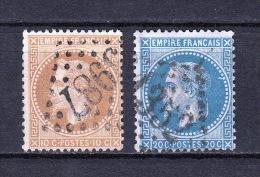 France - YT 28B & 29 Oblitérés - 1863-1870 Napoleon III With Laurels