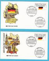 """LOT DE 4 ENVELOPPES ALLEMAGNE 1990 """"BONN -  BERLIN"""" ANNIVERSAIRE DE LA CHUTE DU MUR - Berlin (West)"""