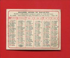BAR LE DUC REVIGNY PIERREFITTE AIRE SOUILLY  MINI CALENDRIER 1927 MAGASINS REUNIS - Kalenders