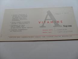 ANCIEN BUVARD / PUB  MEDICAMENT    VITAMINES  A   SQUIBB - Papeterie