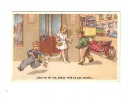 """CPA : 1 Fille , 2 Garçons : Un Part Avec Son Bouquet à L'arrivée De L'autre """" Dans Un Tel Cas, Mieux Vaut Ne Ps Insister - Cartes Humoristiques"""