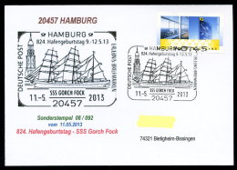 91313) BRD - Postkarte Mit SoST 08/092 Vom 11.5.2013 In 20457 HAMBURG - 824. Hafengeburtstag -SSS Gorch Fock - Kirche - [7] Federal Republic