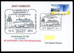 91322) BRD - Postkarte Mit SoST 08/096 Vom 12.5.2013 In 20457 HAMBURG - QUEEN MARY 2 Beim Hafengeburtstag, Leuchtturm - [7] Federal Republic