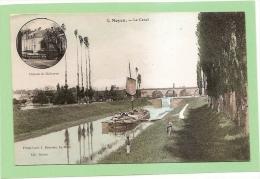 D72 - NOYEN - LE CANAL (ECLUSE - PENICHE - MEDAILLON AVEC CHATEAU DE MALICORNE) - état Voir Descriptif - Otros Municipios
