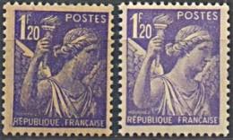 1944 Y&T 651 VARIETé PÂLE + Impression Deffectueuse N** - Curiosities: 1941-44 Mint/hinged