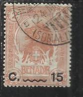 COLONIE ITALIANE SOMALIA 1906-1907 ELEFANTI O LEONI SOPRASTAMPATO SURCHARGE 15 C SU 2 ANNA TIMBRATO USED - Somalia