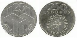 VF MOEDA DE PORTUGAL DE 250 ESCUDOS 25 ABRIL 1974  SILVER - Portugal