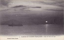 Cp , TRANSPORTS , Marine De Guerre Française , Clair De Lune Sur La Rade - Guerra