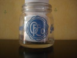 Pot à Yaourt En Verre Sérigraphié Bleu Marque OFCO En Très Bon état - Verres