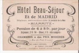 BIARRITZ CARTE DE VISITE ANCIENNE DE L'HOTEL BEAU SEJOUR ET DE MADRID - Visiting Cards