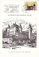 Carte-Maximum SUISSE N°Yvert 602  (Château De NYON) Obl Sp FLAMME Ill 1er Jour - Maximum Cards