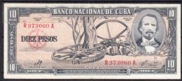 CUBA  1960   10 PESOS.CARLOS MANUEL DE CESPEDES CASI NUEVO..  B002 - Cuba