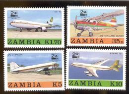 STAMPS FROM ZAMBIA MINT N H SCOTT # 397-400  AVIATION - Zambia (1965-...)