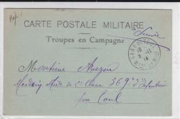 """1914 - CARTE FM """"TROUPE EN CAMPAGNE"""" Pour TOUL - CACHET DE GARE - Marcophilie (Lettres)"""
