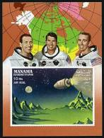Manama 156A MI A12B  Non Dentele, Espace Exploration, Astronauts,  Eisele, Schihra, Cunningham, Neuf** Sans Charniere - Space