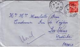 ALGERIE -HUSSEIN-DAY ALGER 13-10-1952 9e REGIMENT DU GENIE / FM ROUGE. - Poststempel (Briefe)