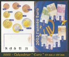 2002 - Petit Calendrier '' Euro '' - 65 Mm  X 100 Mm - Calendarios