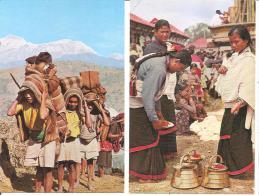 NEPAL  LOT DEUX CARTES SCENES TYPIQUES  Hommes Et Femmes - Nepal