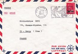 REUNION - LETTRE AFFRANCHIE N° 411 -OBLITERATION FLAMME ILLUSTREE 13-5-1971