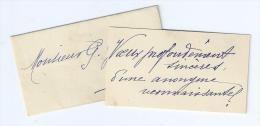 """35Ch    Petite Carte De Voeux Coquine """"voeux Profondement Sinceres D'une Anonyme Reconnaissante"""" Et Son Enveloppe - Oude Documenten"""