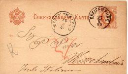 AUTRICHE ENTIER POSTAL GREIFENBURG 1880 - Interi Postali